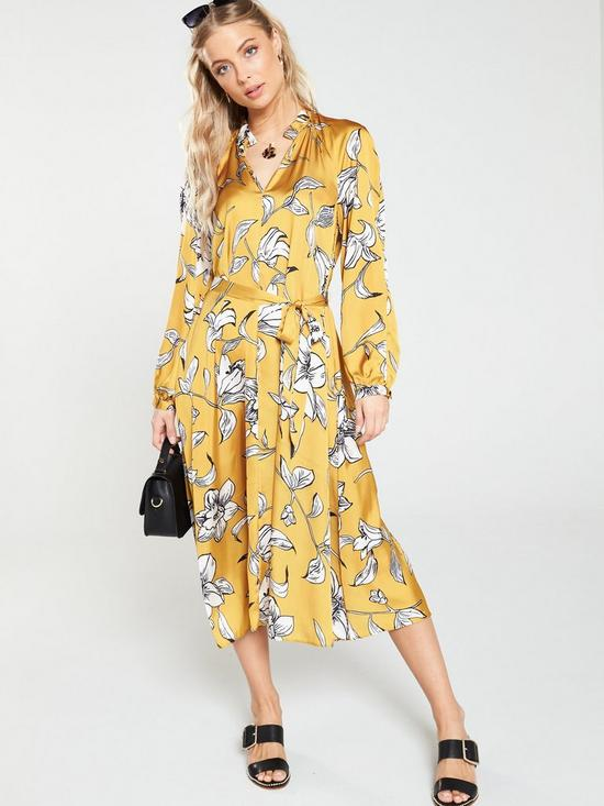 Image result for V by Very Floral Printed Midi Dress - Yellow