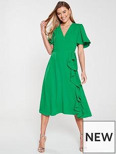 94ef76e7a9 V by Very Wrap Frill Midi Dress - Green