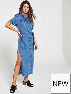 v-by-very-button-up-denim-midi-shirt-dress
