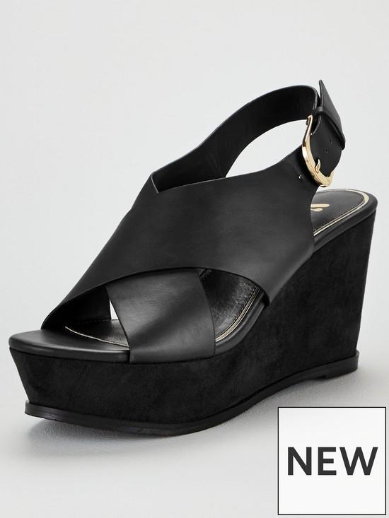 563518898 V by Very Babol Platform Wedge Sandals - Black | very.co.uk