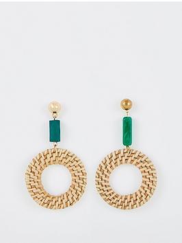 v-by-very-raffia-enamel-drop-hoop-earrings-natural-green