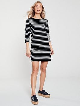 v-by-very-the-essential-three-quarter-sleeve-jersey-dress-stripe