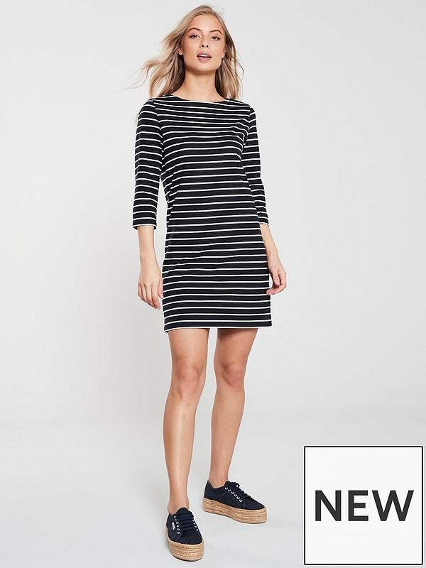 210df389162 V by Very Three Quarter Sleeve Jersey Dress - Stripe | very.co.uk