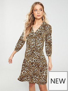 fa4a60eb3fa1d9 V by Very Collar Frill Dress - Leopard Print