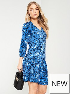 f1820f131c68c9 V by Very Collar Frill Dress - Blue