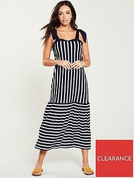 v-by-very-contrasting-stripe-loose-fit-midi-dress-blue