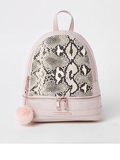 river-island-girls-snake-print-backpack-pink
