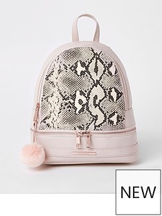 river-island-girls-snake-print-backpack-pink