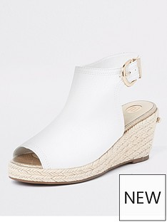 b4cca78d540c River Island Girls espadrille peep toe wedges - white