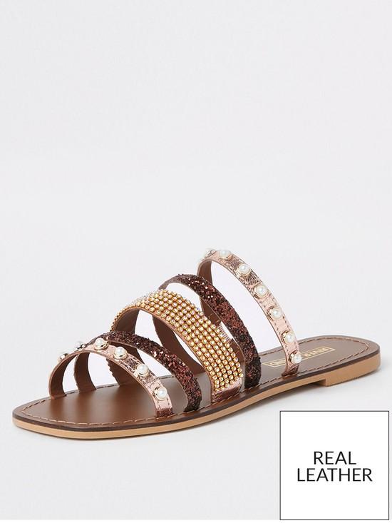 856263718 River Island River Island Leather Multi Strap Embellished Sandal - Brown