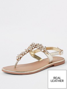 dbcd8f62fe40 River Island River Island Leather Embellished Sandal - Gold