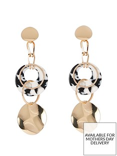 river-island-river-island-hammered-disc-drop-earrings-gold