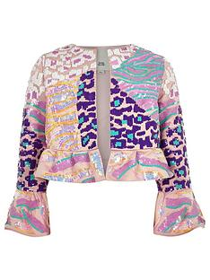 81b750fd891ab River Island Girls sequin flare jacket - pink
