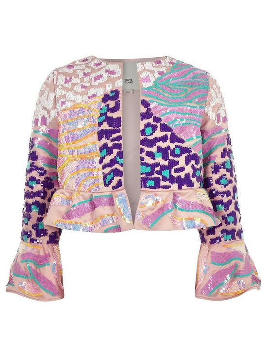 17517cccd River Island Girls sequin flare jacket - pink | very.co.uk