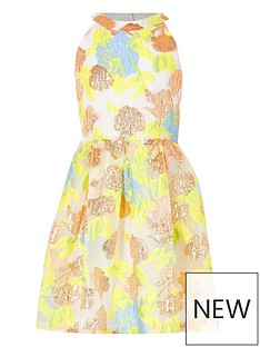 d1a78b834ce River Island Girls metallic prom dress - yellow