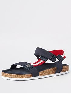 522e9aa3027 River Island Boys corkbed sandals - navy