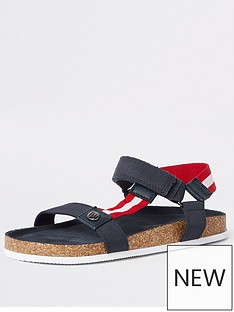 5239a1b17b River Island Boys corkbed sandals - navy
