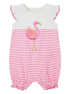 1560653bc50e Monsoon Baby Girls Lila Flamingo Romper Suit - Pink
