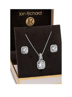 jon-richard-alan-hannah-silver-plated-crystal-square-halo-pendant-and-earrings-set