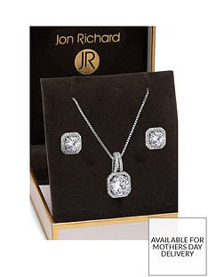 jon-richard-alan-hannah-silver-plated-crystal-square-halo-pendant-and-earrings-set