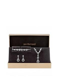 jon-richard-jon-richard-silver-plated-crystal-floral-pendant-bracelet-and-earrings-set