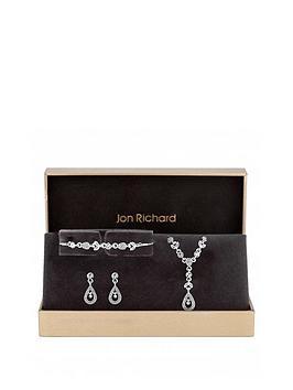 jon-richard-jon-richard-silver-plated-crystal-floral-pendant-bracelet-and-earrings-set