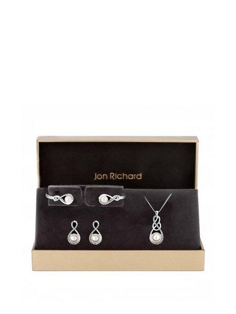 jon-richard-jon-richard-silver-plated-crystal-and-pearl-infinity-pendant-bracelet-and-earrings-set