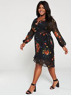 v-by-very-curve-printed-wrap-tea-dress-floral