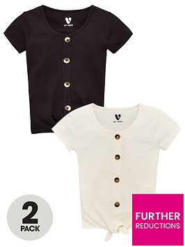 v-by-very-girls-2-pack-button-front-tie-tops-multi