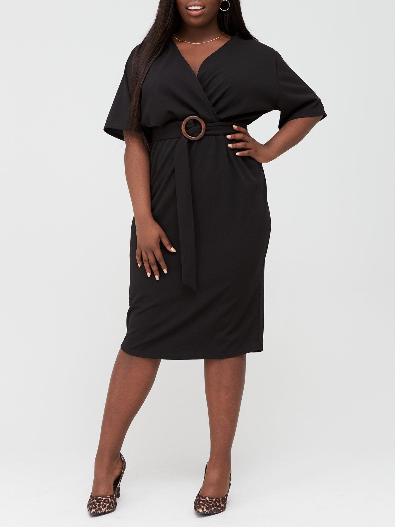 New Womens Plus Size V Neck Jersey Wrap Flared Skater Dress 16-22
