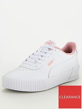 puma-carina-leather-junior-trainers-whitepink