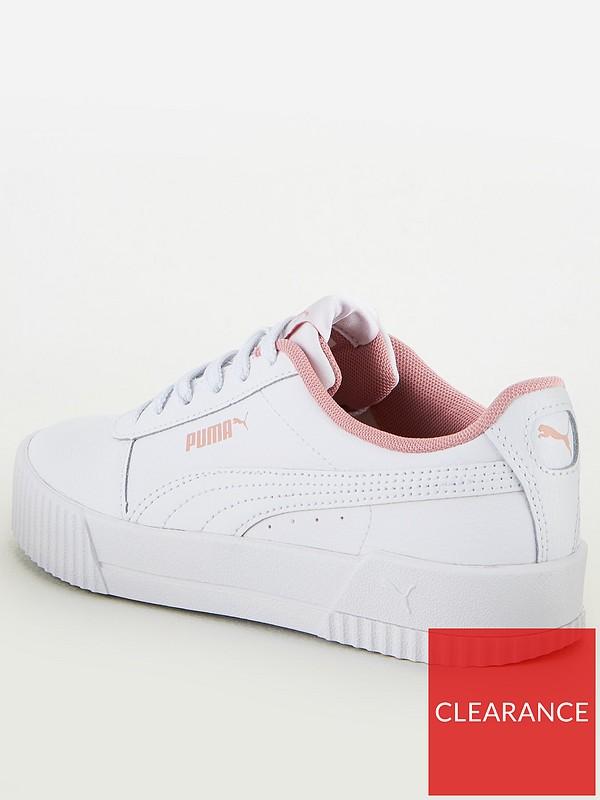 Puma Girls Carina Leather Trainers Junior Shoes Footwear