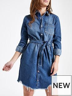 4a272ac95f RI Petite Denim Shirt Dress- Mid Blue
