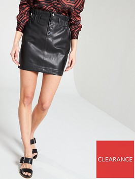 river-island-river-island-button-up-elasticated-waist-pu-skirt-black