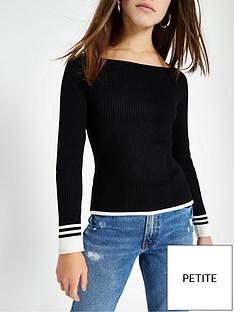 ri-petite-ri-petite-stripe-sleeve-detail-boat-neck-knit-jumper--black