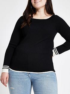 ri-plus-ri-plus-stripe-sleeve-detail-boat-neck-knit-jumper--black
