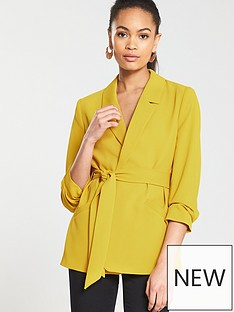 1a39e9039b493 River Island Belted Blazer- Yellow