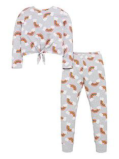 v-by-very-girls-knot-front-rainbow-pyjamas-grey
