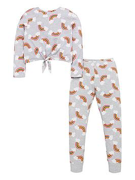 v-by-very-girls-knot-front-rainbow-pyjamas-grey