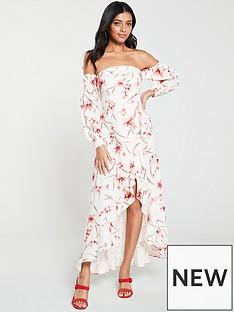bc23a6248e6f V by Very Floral Off Shoulder Dipped Hem Maxi Dress - Print