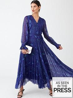 v-by-very-pleated-skirt-midi-dress-blue-snake-print