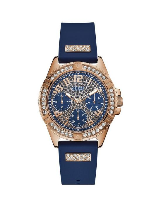 b1e52bc52 Guess Guess Lady Frontier Rose Gold and Blue Detail Crystal Set Multi Dial  Blue Silicone Strap Ladies Watch