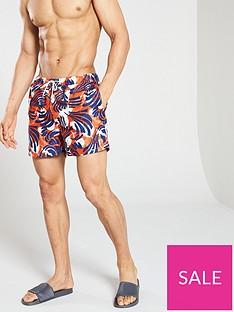 fee9e28cc9 Selected Homme Tokyo Printed Swim Shorts - Orange/Blue