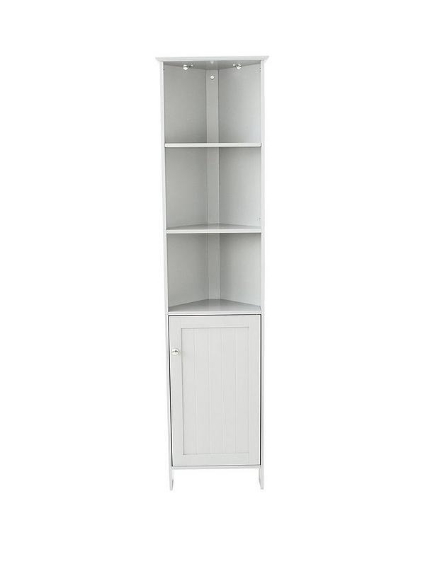 Portland Tall Corner Bathroom Cabinet - White
