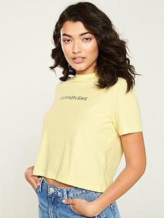 calvin-klein-jeans-institutional-crop-t-shirt-yellow