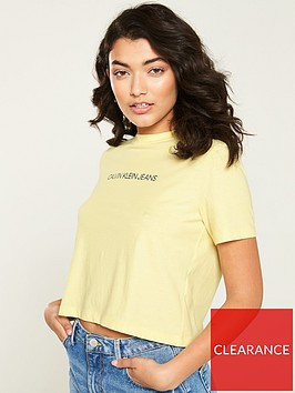 calvin-klein-jeans-institutional-crop-t-shirt-yellow