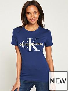 80119f5e4dde Calvin Klein Jeans Metallic Monogram Slim Fit T-Shirt - Blue/Silver