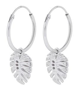 accessorize-monstera-charm-hoop-earrings-silver