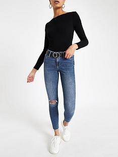 00f2ed8cd48 River Island River Island Regular Leg Mid Rise Ripped Jegging- Mid Blue