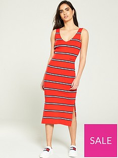 tommy-jeans-knitted-stripe-midi-dress-red